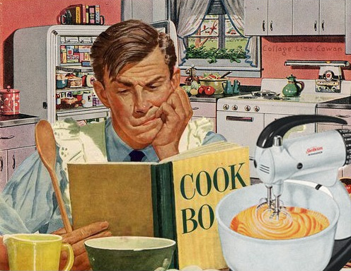 man learning how to cook